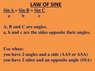 LAW OF SINE