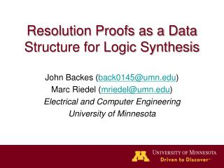 Resolution Proofs as a Data Structure for Logic Synthesis