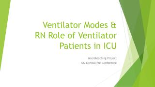 Ventilator Modes &  RN Role of Ventilator  Patients in ICU