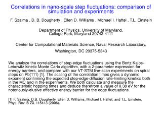 Correlations in nano-scale step fluctuations: comparison of simulation and experiments