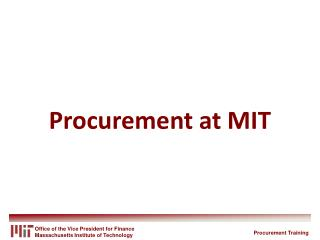 Procurement at MIT