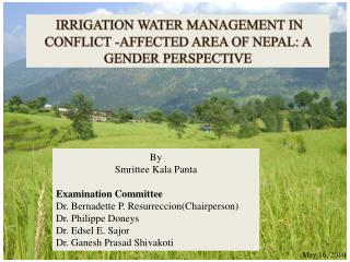 IRRIGATION WATER MANAGEMENT IN CONFLICT -AFFECTED AREA OF NEPAL: A GENDER PERSPECTIVE