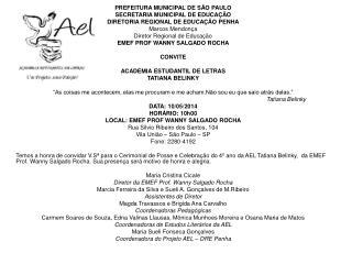 PREFEITURA MUNICIPAL DE S�O PAULO SECRETARIA MUNICIPAL DE EDUCA��O