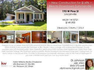 ~ New Construction for $149k  ~ Bike to Downtown Summerville