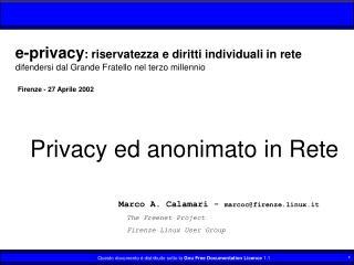 Privacy ed anonimato in Rete