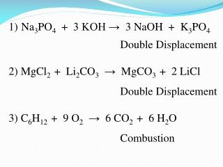 Na 3 PO 4   +  3 KOH → 3 NaOH + K 3 PO 4 				Double Displacement
