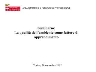 Seminario: La qualità dell'ambiente come fattore di apprendimento