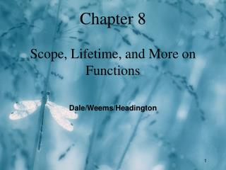 Chapter 8 Scope, Lifetime, and More on Functions