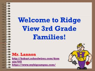 Welcome to Ridge View 3rd Grade Families!