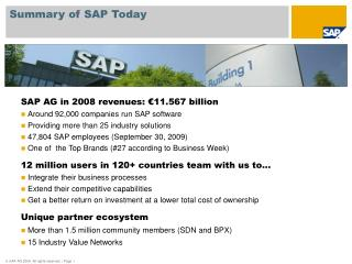 Summary of SAP Today
