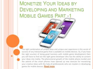 Monetize your ideas by developing and marketing mobile P - 1
