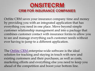 Onsitecrm:CRM for Insurance Companies