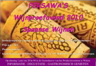 Inschrijvingen via e-mail tav gdedecker @aww.be  met opgave van aantal deelnemers
