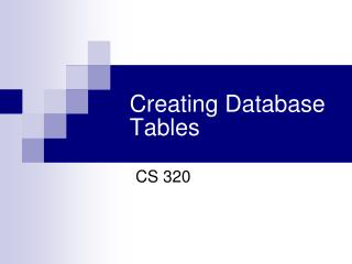 Creating Database Tables