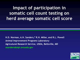 Impact of participation in somatic cell count testing on herd average somatic cell score