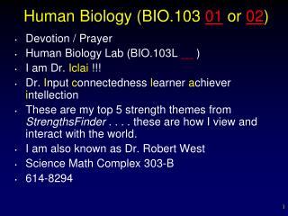 Human Biology (BIO.103  01  or  02 )