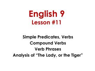 English 9 Lesson #11