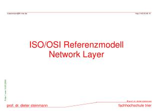 ISO/OSI Referenzmodell Network Layer