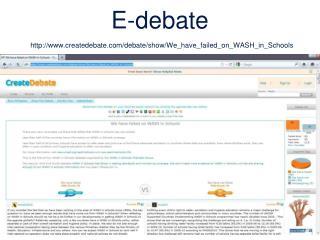 E-debate createdebate/debate/show/We_have_failed_on_WASH_in_Schools