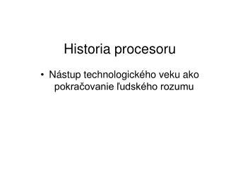Historia procesoru