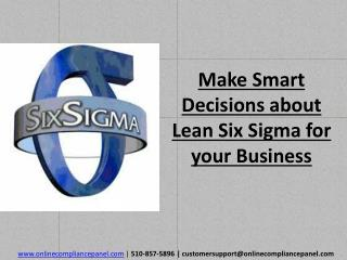 Make Smart Decisions about Lean Six Sigma for your Business