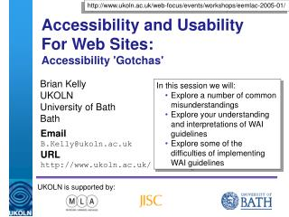 Accessibility and Usability For Web Sites:  Accessibility 'Gotchas'
