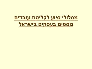 מסלולי סיוע לקליטת עובדים נוספים בעסקים בישראל