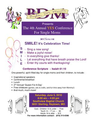 Presents The 4th Annual  YES  Conference For Single Moms