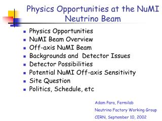 Physics Opportunities in a NuMI off-axis Experiment
