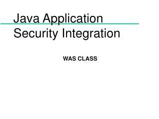 Java Application Security Integration