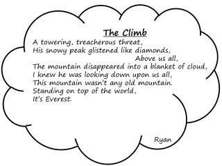 The Climb A towering, treacherous threat, His snowy peak glistened like diamonds,