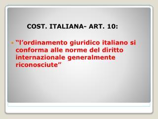 COST. ITALIANA- ART. 10: