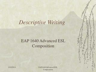 1 Descriptive writing