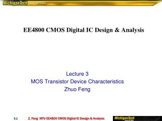 EE4800 CMOS Digital IC Design  Analysis