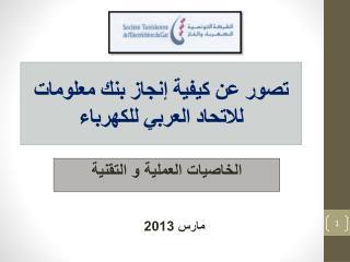 تصور عن كيفية إنجاز بنك معلومات  للاتحاد  العربي للكهرباء