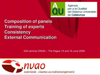 Composition of panels Training of experts