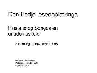 Den tredje leseoppl�ringa  Finsland og Songdalen ungdomsskoler