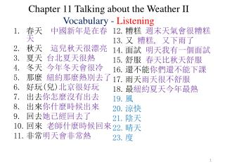 Chapter 11 Talking about the Weather II Vocabulary -  Listening