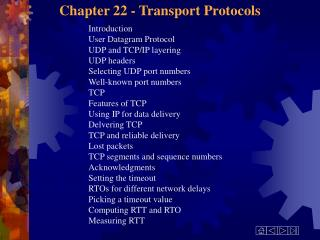 Chapter 22 - Transport Protocols