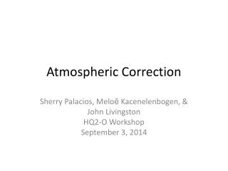 Atmospheric Correction