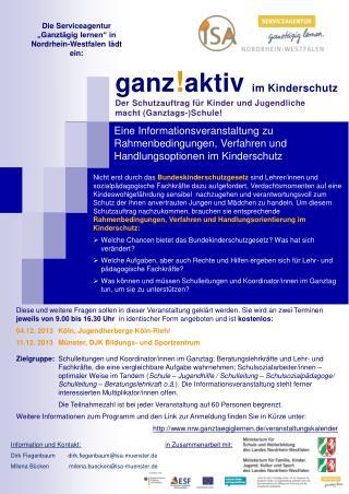 Die Serviceagentur  �Ganzt�gig  lernen� in  Nordrhein-Westfalen  l�dt ein:
