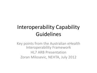 Interoperability Capability Guidelines