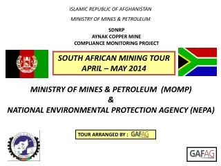ISLAMIC REPUBLIC OF AFGHANISTAN MINISTRY OF  MINES & PETROLEUM