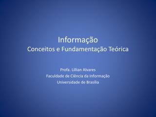 Informação Conceitos e Fundamentação Teórica