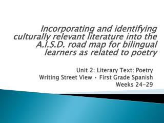 Unit 2: Literary Text: Poetry Writing  Street View • First Grade Spanish  Weeks 24-29