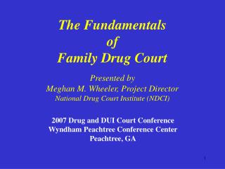 The Fundamentals  of  Family Drug Court