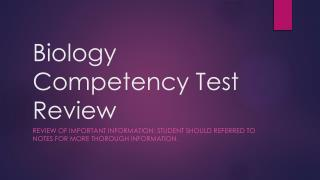 Biology Competency  Test Review