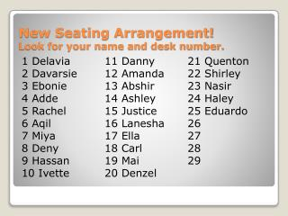 New Seating Arrangement! Look for your name and desk number.