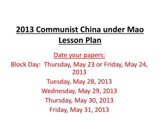2013 Communist China under Mao Lesson Plan