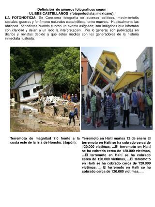 Definición  de géneros fotográficos según ULISES CASTELLANOS  (fotoperiodista; mexicano).